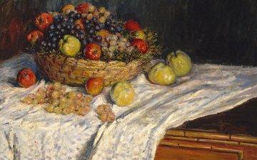 картина, натюрморт, клод моне, корзина для фруктов с яблоками и виноградом