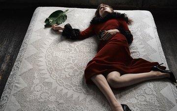 платье, лежит, модель, фотограф, актриса, в красном, на кровати, дакота джонсон, craig mcdean