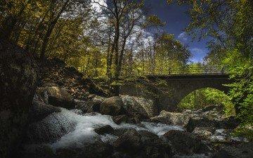 небо, облака, деревья, река, скалы, лес, мост, водопад