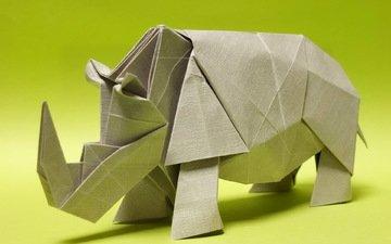 бумага, оригами, носорог