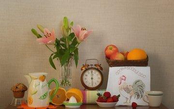 apples, strawberry, watch, lily, orange, still life, cupcake