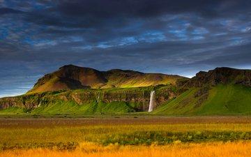 горы, скалы, пейзаж, водопад, исландия