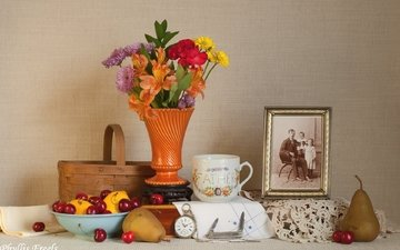 flowers, watch, lemon, cherry, cup, photo, still life, pear