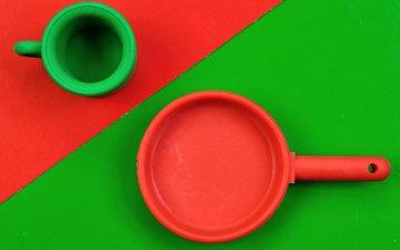 mug, red, green, pan