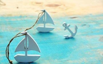 пляж, лето, кораблик, якорь, декорация, деревянные