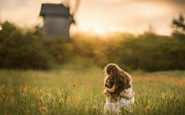 поле, лето, дети, девочки, сёстры