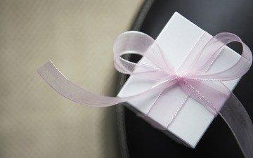 белый, розовый, лента, подарок