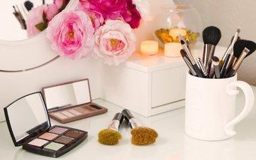 flowers, mirror, makeup, brush, shadows, cosmetics