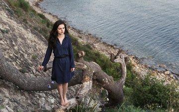 дерево, камни, берег, девушка, настроение, море, скала, платье, брюнетка, взгляд, милая, симпатичная, молодая, прелесть, удивленная, diana, максим гусельников, диана шиловская, засохшее, emotive, atmosphere, возвышенность, российская