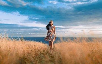 закат, девушка, платье, портрет, поле, лето, красавица, колоски, неба, красивая, шатенка, на природе, прелесть, шикарная, сарафан, легкие, иван проскурин, safiya, софья, превосходная