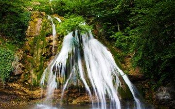 деревья, камни, лес, скала, водопад, хорватия, plitvice lakes national park