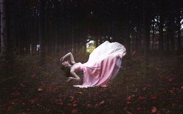forest, leaves, girl, flight, dress, pose, autumn, fantasy, levitation, hung