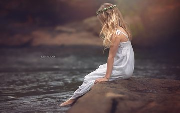река, природа, девочка