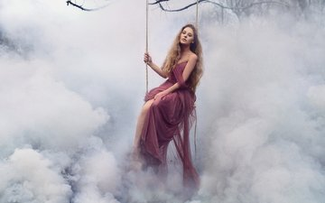 the sky, clouds, girl, dress, fog, hair, crown, swing, princess, fabulously