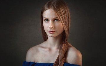 девушка, фон, портрет, взгляд, красавица, модель, лицо, милая, шатенка, киностудия, прелесть, даша, дарья, dmitrij butvilovskij