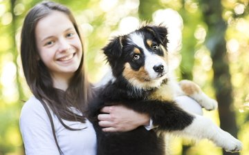 forest, park, portrait, dog, girl, puppy, friendship, bokeh, aussie