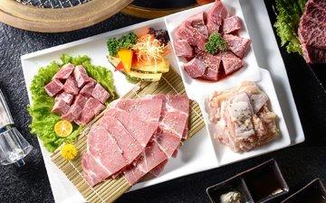 овощи, мясо, кунжут, нарезка