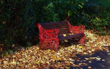 парк, листва, осень, скамейка, листопад, опадают, осен, листья
