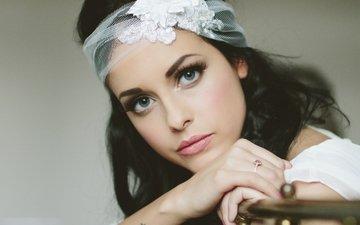 девушка, портрет, брюнетка, кольцо, невеста, фата