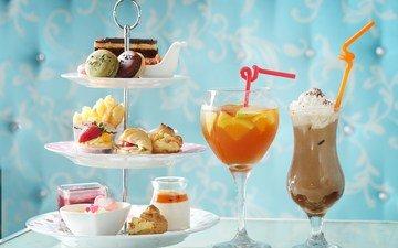 лето, коктейль, бокалы, праздник, сладкое, десерт, пирожное