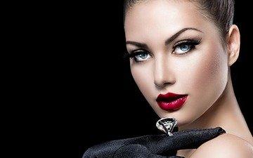 девушка, взгляд, кольцо, макияж, анна субботина