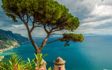 the sky, flowers, clouds, mountains, tree, sea, horizon, the view from the top, coast, height, italy, ravello