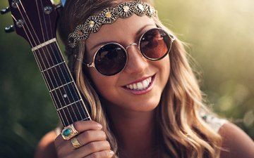 decoration, girl, smile, guitar, glasses, ring, brown hair, hippie