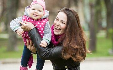 smile, joy, walk, happiness, mom, daughter