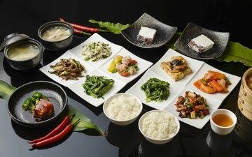 овощи, соус, рис, суп, ассорти