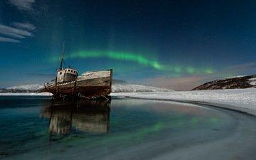 ночь, море, корабль, северное сияние