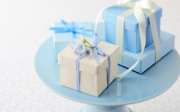 flowers, gifts, box, tape, blue.white