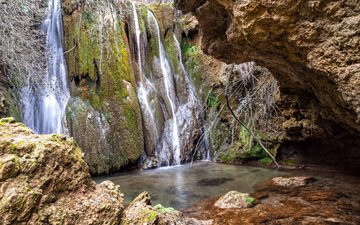 камни, скала, водопад, мох, испания, canete, castille la mancha