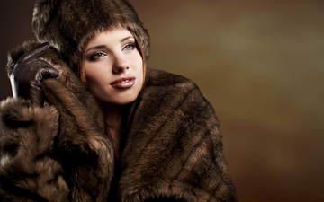 зима, девушка, шапка, одежда, кожа, мех, шуба, перчатки