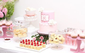 розы, конфеты, розовый, свадьба, торт, десерт, пирожное, кексы, макарун