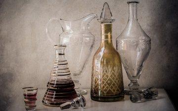 напиток, стекло, бутылка, кувшин, алкоголь, натюрморт, графин