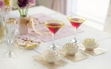 cocktail, sweet, cookies, cupcakes, vase .flowers