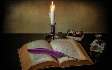 пламя, свеча, книга, перо, натюрморт, пламя свечи