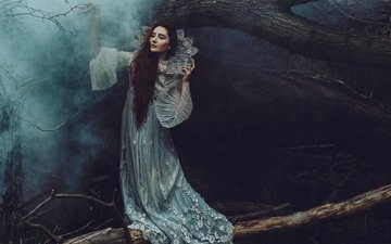 trees, the darkness, forest, girl, dress, pose, fog, trunks, fairy, hands, twilight, princess, nymph, fabulously