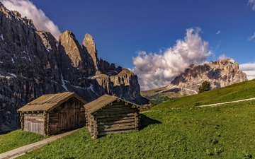 горы, склон, дом, доломитовые альпы