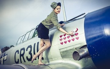 girl, the plane, aviation