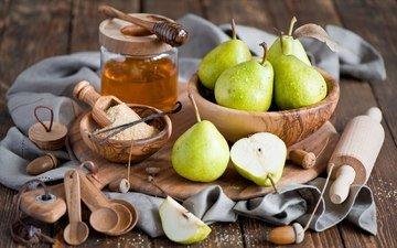 фрукты, стол, мед, натюрморт, груши, скалка, жёлуди, ложки, деревянные