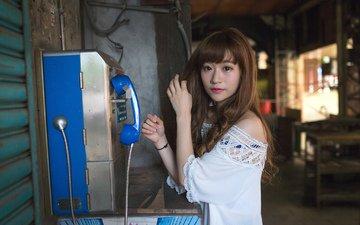 девушка, взгляд, телефон, трубка, азиатка