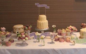 конфеты, свадьба, торт, кексы, макарун