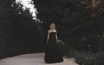 girl, dress, walk