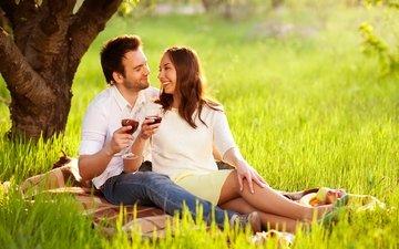 природа, романтика, пара, отдых, вино, двое, пикник