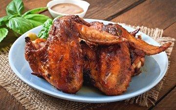 мясо, курица, крылышки, жареные