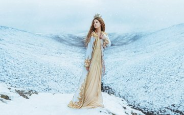 mountains, snow, winter, girl, dress, crown, queen, princess