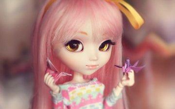 кукла, оригами, большие глаза