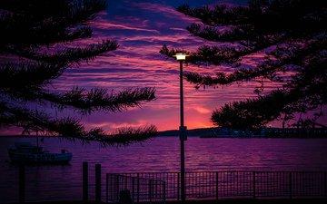 облака, ночь, город, набережная, фонарь, австралия, зарево, порт-линкольн