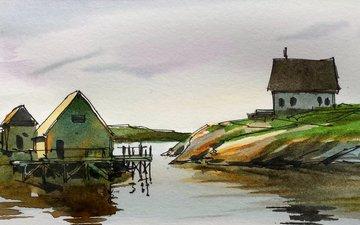 рисунок, вода, картина, пейзаж, дом, акварель